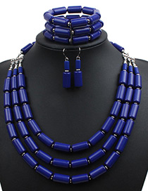 Fashion Sapphire Blue Pure Color Decorated Jewelry Set ( 3 Pcs)