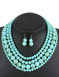 Fashion Blue Beads Decorated Pure Color Jewelry Sets