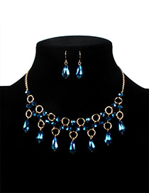 Fashion Blue Water Drop Shape Decorated Jewelry Sets