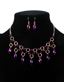 Fashion Purple Water Drop Shape Decorated Jewelry Sets