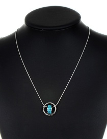 Fashion Silver Color+blue Circular Ring Decorated Necklace