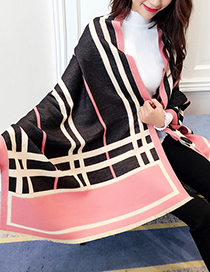 Trendy Black+pink Grid Pattern Decorated Dual-use Scarf