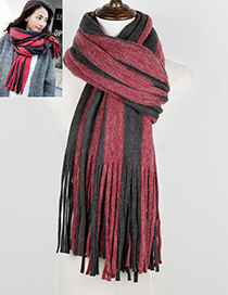 Trendy Red+gray Stripe Pattern Decorated Thicken Scarf