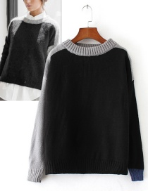 Trendy Gray Color Matching Decorated Round Neckline Sweater