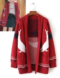 Trendy Red Whale Pattern Decorated Simple Sweater