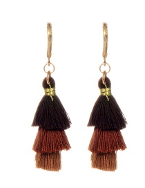 Fashion Brown Tassel Decorated Umbrella Shape Earrings