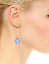 Fashion Blue Round Ball Decorated Simple Earrings