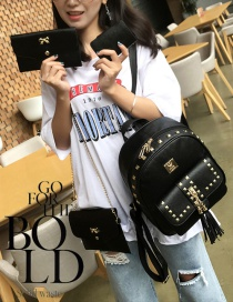 Fashion Black Square Shape Rivet Decorated Backpack