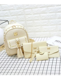 Fashion Beige Square Shape Rivet Decorated Backpack
