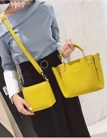 Fashion Yellow Pure Color Decorated Bag (2pcs)