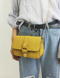 Elegant Yellow Round Buckle Decorated Pure Color Shoulder Bag