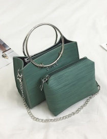 Fashion Dark Green Circular Ring Decorated Shoulder Bag(2pcs)