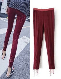Fashion Claret-red Pure Color Decorated Pants