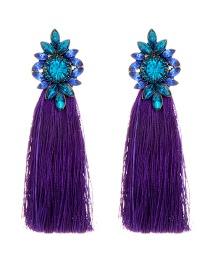 Bohemia Purple+blue Flower Shape Decorated Tassel Earrings