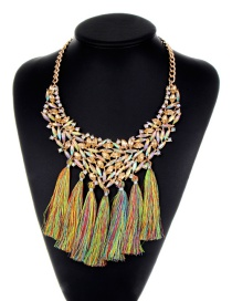 Bohemia Champagne Hollow Out Decorated Tassel Necklace