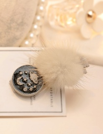 Fashion Beige Moon&fuzzy Ball Decorated Hairpin