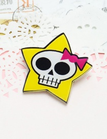 Lovely Yellow+white Skeleton&stars Decorated Brooch