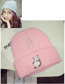 Lovely Pink Embroidered Panda Decorated Simple Cap