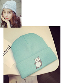 Lovely Blue Embroidered Panda Decorated Simple Cap