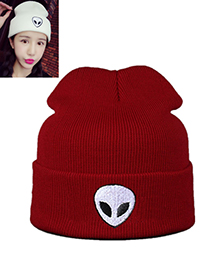 Lovely Claret Red Alien Pattern Decorated Pure Color Cap