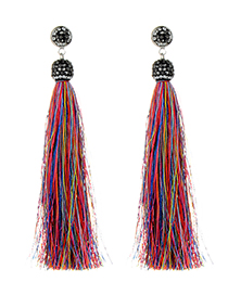 Fashion Multi-color Color Matching Decorated Long Tassel Earrings