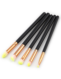 Trendy Pink+yellow Color Matching Decorated Makeup Brush(5pcs)