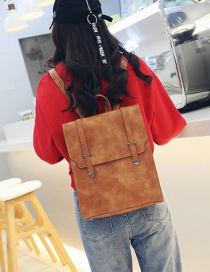 Fashion Light Brown Pure Color Decorated Backpack