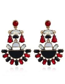 Fashion Red+black Color Matching Decorated Earrings