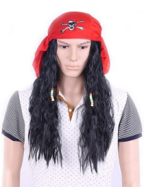 Fashion Red+black Pure Color Decorated Wig