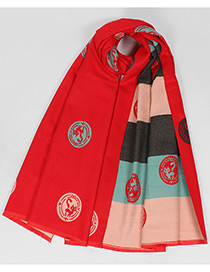 Fashion Red Fox Pattern Decorated Scarf