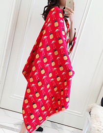 Fashion Red Pineapple Pattern Decorated Scarf