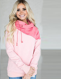 Fashion Pink Color Matching Decorated Sweater