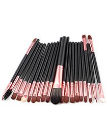 Fashion Black+rose Gold Pure Color Decorated Makeup Brush ( 20 Pcs )