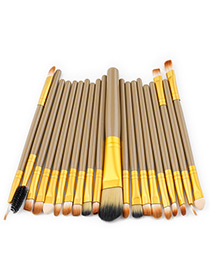 Fashion Brown+gold Color Color Matching Decorated Makeup Brush ( 20 Pcs )