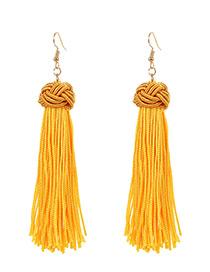 Fashion Yellow Tassel Decorated Earrings