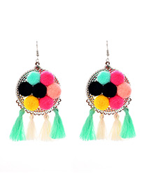 Fashion Multi-color Tassel Decorated Pom Earrings