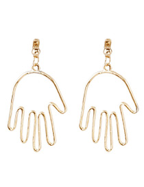 Fashion Gold Color Hand Shape Decorated Earrings