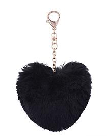 Fashion Black Fuzzy Ball Decorated Heart Shape Key Chain