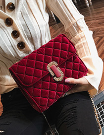 Fashion Red Pure Color Decorated Square Shape Shoulder Bag