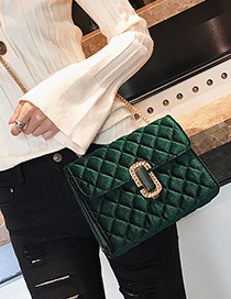 Fashion Green Pure Color Decorated Square Shape Shoulder Bag