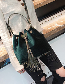 Fashion Green Tassel Decorated Pure Color Shoulder Bag