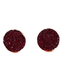Fashion Claret Red Round Shape Decorated Pure Color Earrings