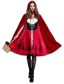 Fashion Red Pure Color Decorated Cosplay Costume(with Dress ,shawl, cap)