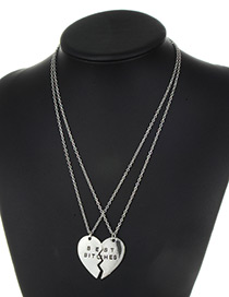 Fashion Silver Color Heart Shape Decorated Necklace ( 2 Pcs )