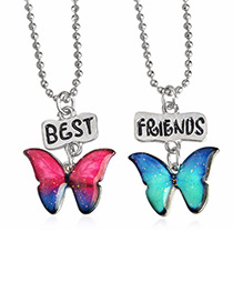 Fashion Red+blue Butterfly Shape Decorated Necklace ( 2 Pcs )