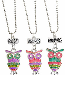 Fashion Multi-color Owl Shape Decorated Necklace ( 3 Pcs )