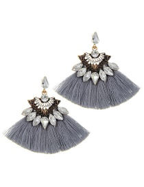 Fashion Gray Tassel Decorated Sector Shap Earrings