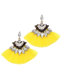 Fashion Yellow Tassel Decorated Sector Shap Earrings