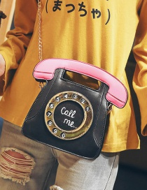 Trendy Black Telephone Shape Design Shoulder Bag