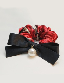 Fashion Red Bowknot&pearl Decorated Hair Band